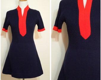 70's dress, S, M, vintage 70s, knit dress, scooter dress, short dress, mini dress, spring dress