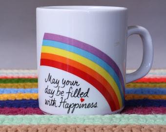 Vtg Rainbow Mug Rainbow Cup LGBTQ Pride Easter Mug Colorful Mug Bright Mug 80s Mug Happiness Mug Kitsch Mug Kitschy Mug Retro Mug Collectib
