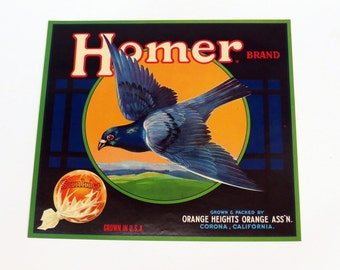 1920s Homer Brand Sunkist Fruit Crate Label Orange Heights California Citrus Original Homing Pigeon