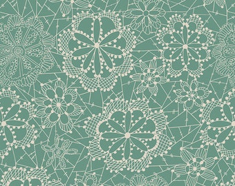 Lace in Bloom in Sky   FLO-9126 -   Fleet & FLOURISH  by Maureen Cracknell for Art Gallery Fabrics - By the Yard