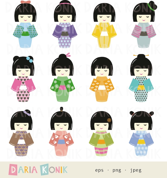 Kokeshi Dolls Clip Art Set-instant download Japanese dolls