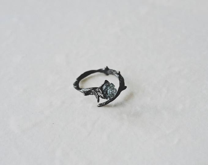Rose, thorns, 925 silver, black gold plating, open ring
