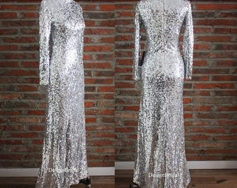 Silver wedding dress etsy eye catching sequined warm formal dress junglespirit Image collections