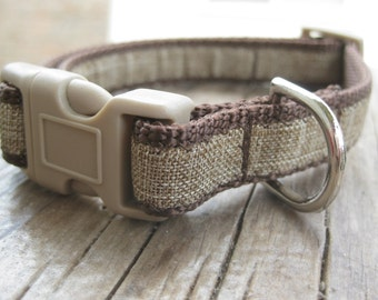 "Brown Linen Puppy Collar. 5/8"" wide, available in S and M"