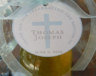 """50 - Baptism Custom 2"""" Thank You Favor Tags - for Mason Jar Gifts - Mini Wine or Champagne Bottles - Cookies Favors - Cross Favor Tags"""