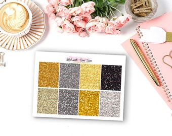 Glitter hearder NEW YEAR EVE theme planner stickers for Erin Condren Life Planner Vertical layout