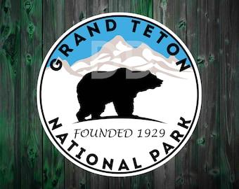 "GRAND TETON National Park Wyoming Bear Mountains Sticker Decal 3"""