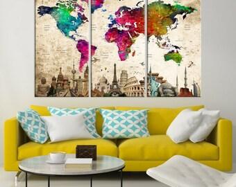 World Map Canvas, World Map Wall Art, Wonder of World Map Push Pin Canvas Print, Large Wall Art World Map Push Pin Canvas, Framed Wall Art