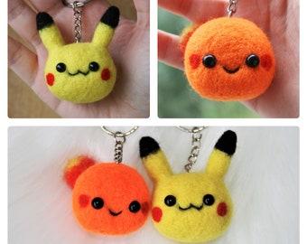 Pikachu Kawaii Charmander, Pokemon Keychain, needle felted pokemon, felted pokemon character, miniature charmander, keyring Handcrafted wool