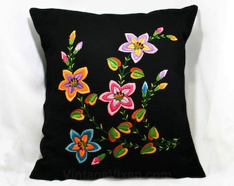 European Needlepoint Throw Pillow - Black Wool - Vibrant Flowers Embroidery - Hand Embroidered - Quality Workmanship - 1940s - 50s - 2042011
