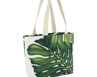 Small Shopping Tote Deluxe-White Monstera, Waterproof lined, Made in Hawaii