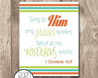 Printable Bible Verse 1 Chronicles 16:9