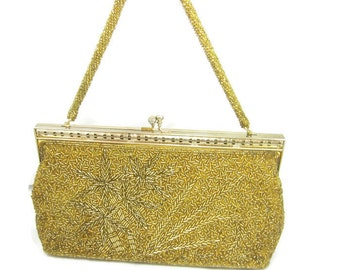 Vintage Beaded Gold Purse Clutch Seed Beaded Strap 1970s Retro Evening Bag Art Deco Hand Beaded Gold Clutch Vintage Woman Accessories