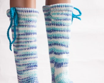 Ready to Ship - Knitted Leg warmers, Christmas Gift, Socks with Sheep Wool, Warm in Winter Boots, Winter Gift,  Knitted Socks, High Socks