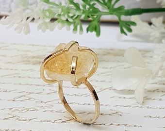 Citrine Ring, Raw Stone Ring, November Birthstone,  Raw Citrine Ring, Boho Chic Ring, Citrine Jewelry, Birthstone Ring, Citrine Gemstone