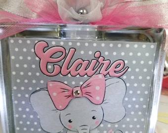 Baby Elephant nursery decor,  nightlight, lighted glass block keepsake