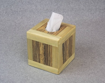 Tissue Box Cover - Handcrafted from Sourwood and Reclaimed Oak - Covers a 80 CT 2-PLY Kleenex® Box or 56 CT 2-Ply Puffs® Box