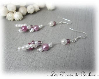 Earrings purple and white asymmetrical beaded Victoria 'Flight' c