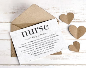 Nurse Card, Personalized Gift for Nurse, Nurse Appreciation Gift, Thank You Nurse, Nurse Retirement Leaving Gift, Nurse Custom GREETING CARD