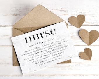 Nurse Card, Personalized Gift for Nurse, Nurse Appreciation Gift, Thank You Nurse, Nurse Retirement Leaving Gift, Nurse Custom GREETING CARD