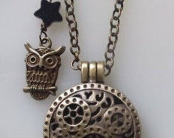 Fragrance Aromatherapy Oil Diffuser Bronze Steampunk Locket with Owl Charm & Blue Goldstone Star, Wool Felt, Necklace on Chain Choose Length