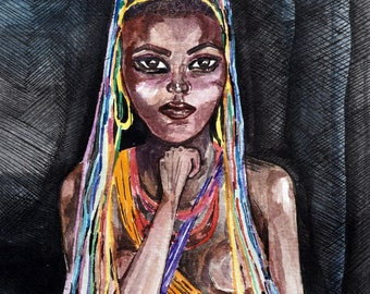 African woman with colorful strings watercolor