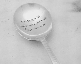 Cooking with love serving spoon, hand stamped spoon, hostess gift