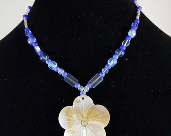 Blue Glass and Shell FLower