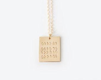Custom Dates Stamped Necklace - Multi Dates - Keepsake Necklace - 14k GOLD FILLED or Brass or Sterling