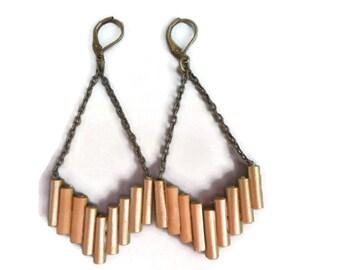 Gold brass chandelier earrings Paper jewelry Beads dangles Contemporary jewelry
