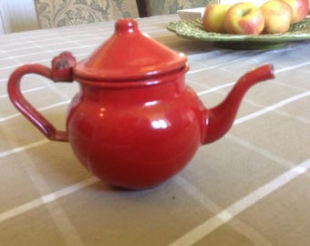 Charming French vintage red enamel one cup teapot