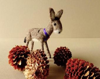 Needle felted donkey ornament, donkey gifts, Christmas tree decoration, rustic holiday ornament, farm animal decor