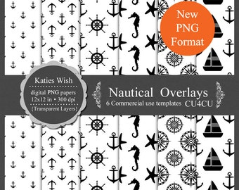 Nautical Overlays digital template kit commercial use PNG layers instant download file