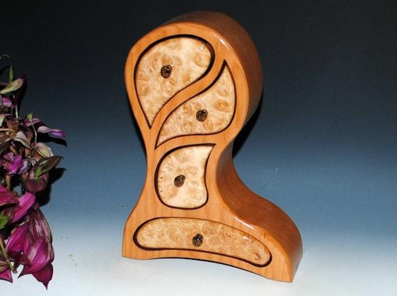 Jewelry Box - Handmade Wooden Jewelry Box - Maple Burl on Cherry Picasso Style - Art Jewelry Box - Wood Jewelry Box, Handmade Wooden Box