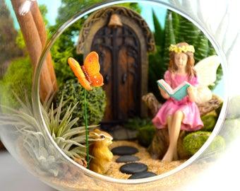 "Fairy Garden Terrarium Kit ~ 7"" Air Plant Terrarium ~ Miniature Fairy Garden ~ Fairy Door choice at checkout ~ Reading Fairy ~ Magical ~Gift"
