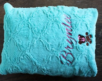 Toddler Pillowcase  WITH  NAME & GRAPHIC, Minky Pillowcase, owl, teddy, bunny, embroidery animal, personalize pillowcase, soft pillowcase