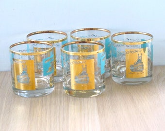 Set of 4 Vintage Libbey Mid Century Riverboat Steamboat Whiskey Tumblers Retro Barware