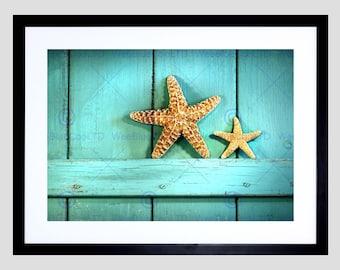 Photo Starfish Rustic Turquoise Door Sea Beach Art Print Poster Picture FEBMP939B