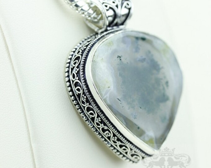 Moss Agate Vintage Filigree Setting 925 S0LID Sterling Silver Pendant + 4mm Snake Chain p2899