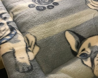 French Bulldog Striped Crate Mat/Bed