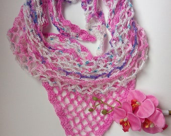 Summer pink shawl. Crochet stole for woman.