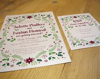 Winter Wedding Invitation Suite • Qty 50 - 99 • including Envelopes and matching RSVPs