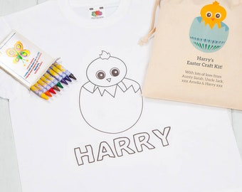 Personalised Chick T Shirt Easter Crafts For Children