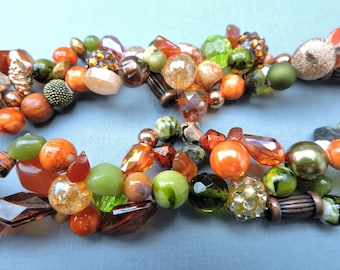 Autumn necklace, Thanksgiving necklace, gemstone, chunky, Green, Orange, Copper, earth tones, multistrand, statement, woven, twisted
