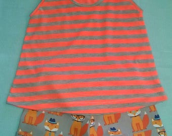 Fox shorts with strip jersey top soft cotton orange and gray. Size 12 mo to 6-6X