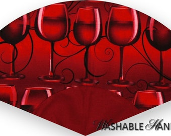 Washable Hand Fan Traditional Wine Glass in Red