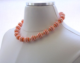 Necklace Beaded Lucite Orange and White Stripe Matte Gold Swarovski Crystal Fashion Jewelry Colorful Flirty Fun Jewellery