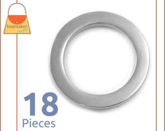 "1 Inch Flat Rings, Super Shiny Nickel Finish, 18 Pieces, Purse Handbag Bag Making Hardware Supplies, 1"" One Inch, RNG-AA279"