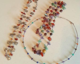 Multi Gemstone Silver Necklaces ~set of 3~