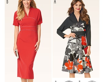 Burda Style 6575 Misses Dress with Kimono Sleeves - Small Cup Shaped Collar